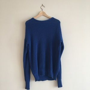 American Apparel Blue Knit Sweater Unisex Medium
